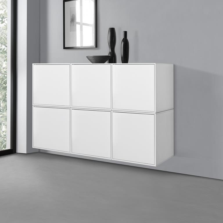 Combinazione di mobili da parete. 6 armadi combinabili bianchi. 135x30x90cm