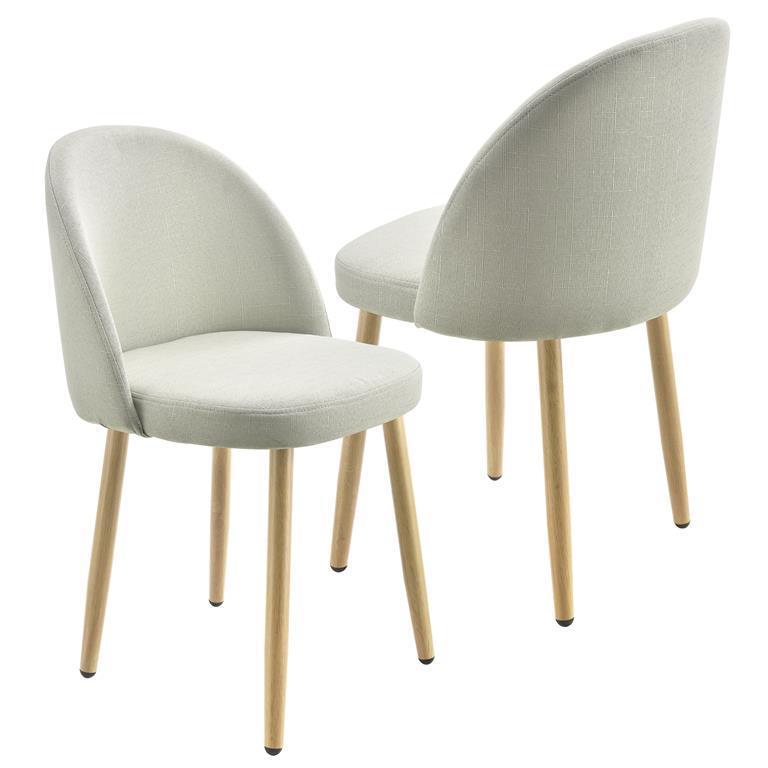 Sedie Imbottite Per Sala Da Pranzo.Sedie Imbottite Per Sala Da Pranzo 76 X 44 Cm Tessuto Set Di 2 Sedie Beige