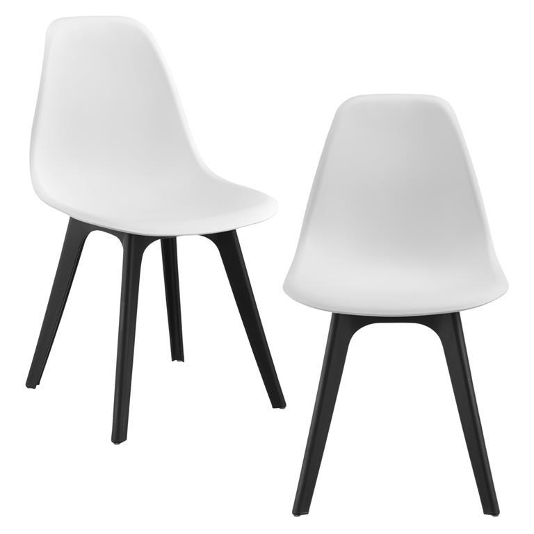 Sedie Design 83X54X48 Cm Set Di 2 Pezzi Plastica Bianco Nero - En ...