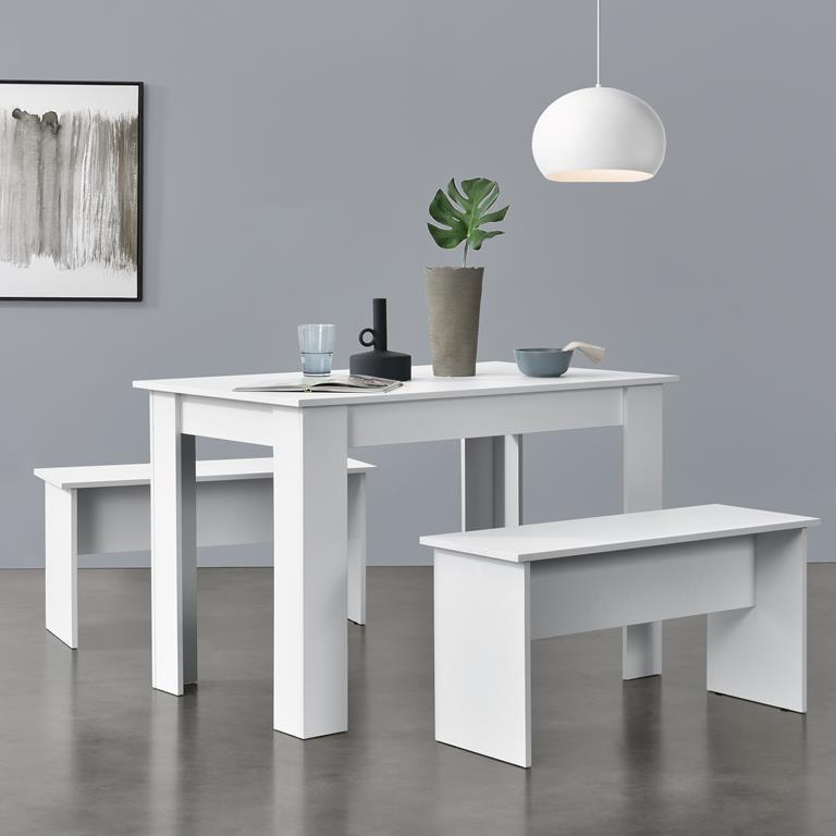 Set Per Sala Da Pranzo Composto Di Tavolo E 2 Panche Mobili In Design Minimal Set Da Pranzo Fino A 4 Posti Bianco En Casa Casa E Cucina Ibs