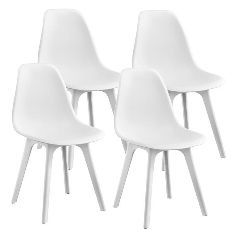 Sedie Design 83X54X48 Cm Set Di 4 Pezzi Plastica Bianco - En.Casa ...