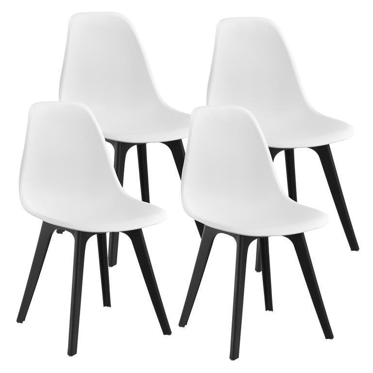 Sedie Design 83X54X48 Cm Set Di 4 Pezzi Plastica Bianco Nero