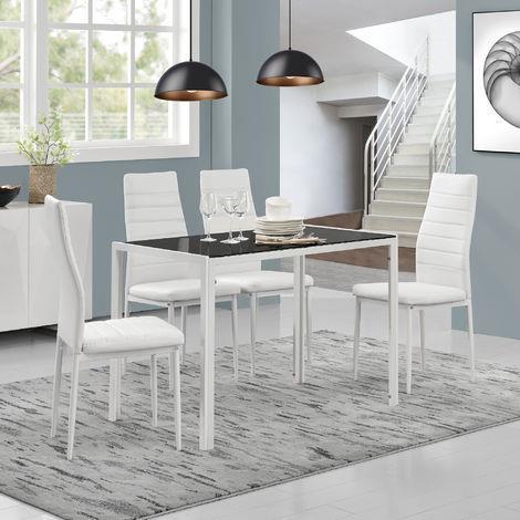 Tavolo Da Pranzo Con Piano Tavola Di Vetro Nero Gambe Biance En Casa Casa E Cucina Ibs