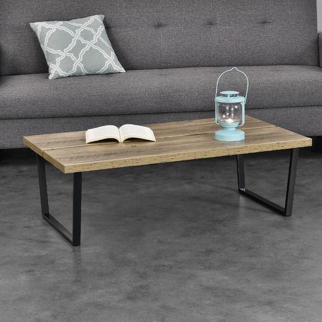 Effetto calcestruzzo 100 cm x 60 cm x 3 cm Tavolino da salotto moderno Telaio in accaio en.casa