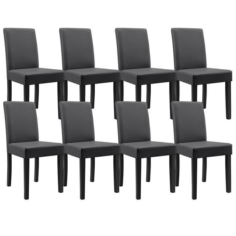 8 sedie imbottite con piedi in legno massello rivestimento in similpelle elegante