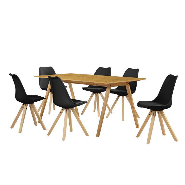 Tavolo da pranzo Set per sala da pranzo con 6 sedie nere ...