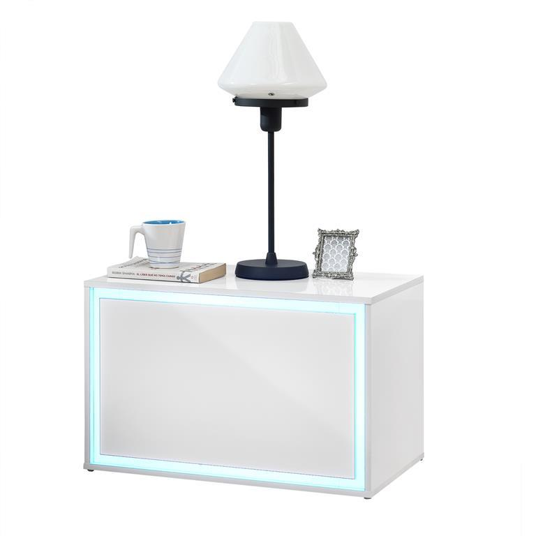 Comodino camera da Letto con Illuminazione LED di 15 Colori dimmerabili 59  x 36 x 38 cm Con telecomando Bianco