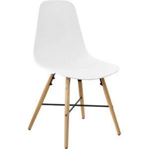 Sedia design in un set di 2. 85,5 x 46cm. biance. sedie sala da pranzo  plastica retro