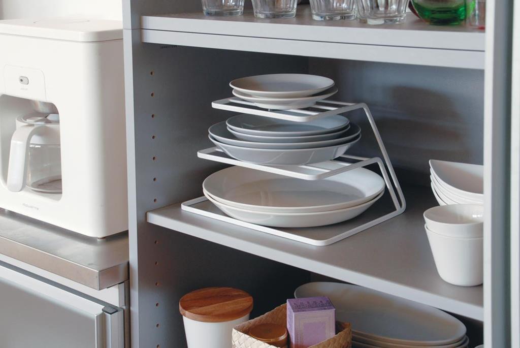Yamazaki organizer per piatti ripiani bianco accessori da cucina