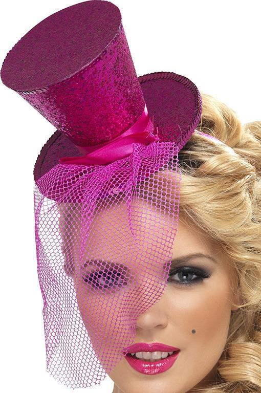 Mini cappello cilindrico burlesque viola glitterato con retina ... 69e269d627f9