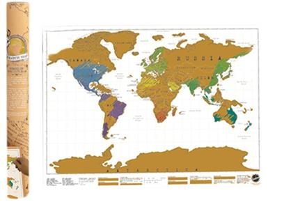 Scratch Map - Cartina Geografica In Lamina Cancellabile 81x58cm