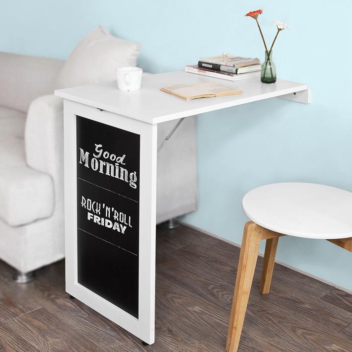 Tavolo Da Muro Pieghevole.Tavolo Da Muro Pieghevole Con Lavagna 75x50 Cm Bianco Sobuy Sobuy