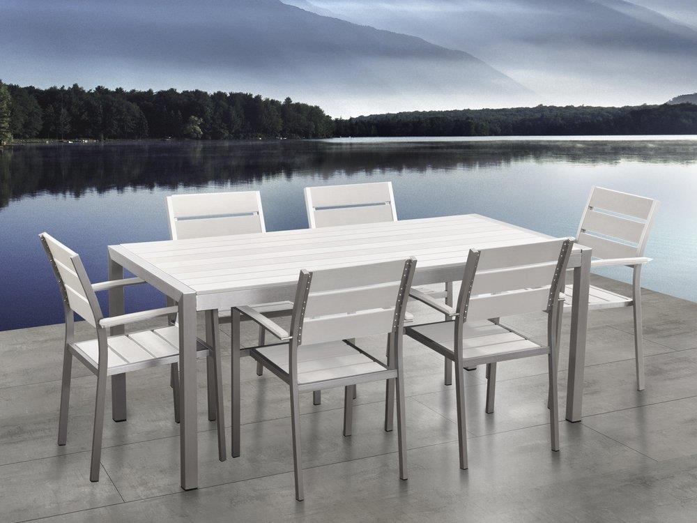 Set di tavolo e sedie da giardino in alluminio e legno sintetico bianco  VERNIO