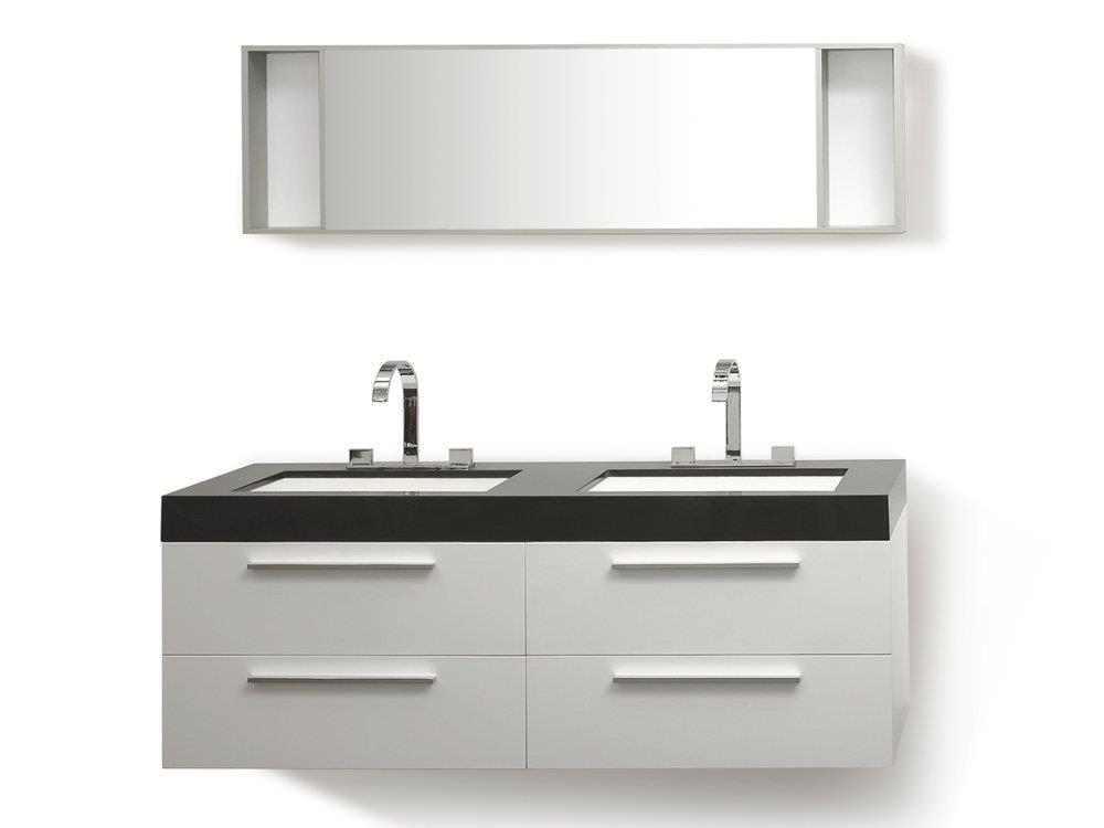 Arredo bagno moderno - Mobili accessori bagno 2 lavabi - Armadietti - 1  specchio - Bianco - Malaga