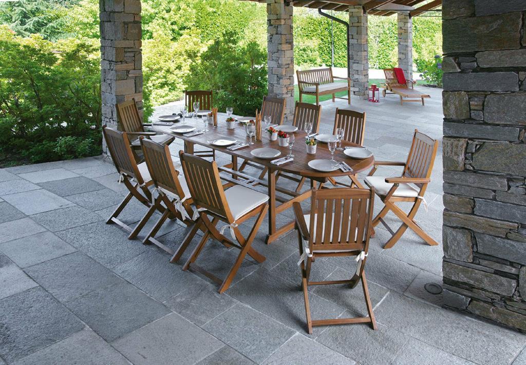 Tavoli In Legno Da Giardino Allungabili.Set Da Giardino In Legno D Acacia Con Tavolo Ovale Allungabile E