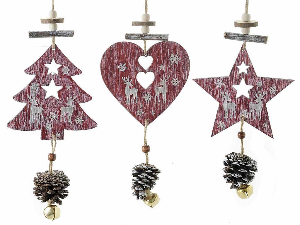 Decorazioni In Legno Per Albero Di Natale : Decorazioni per albero di natale in legno con pigna 19 pezzi