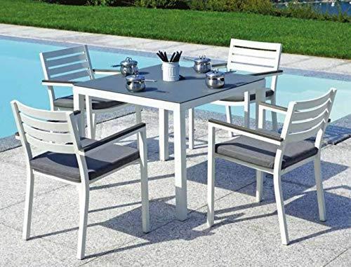 Tavolo con sedie per giardini e bar in alluminio quattro posti