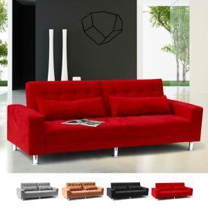 Divano letto 2 3 posti con schienale reclinabile e cuscini matrimoniale  QUARZO pronto letto - Rosso