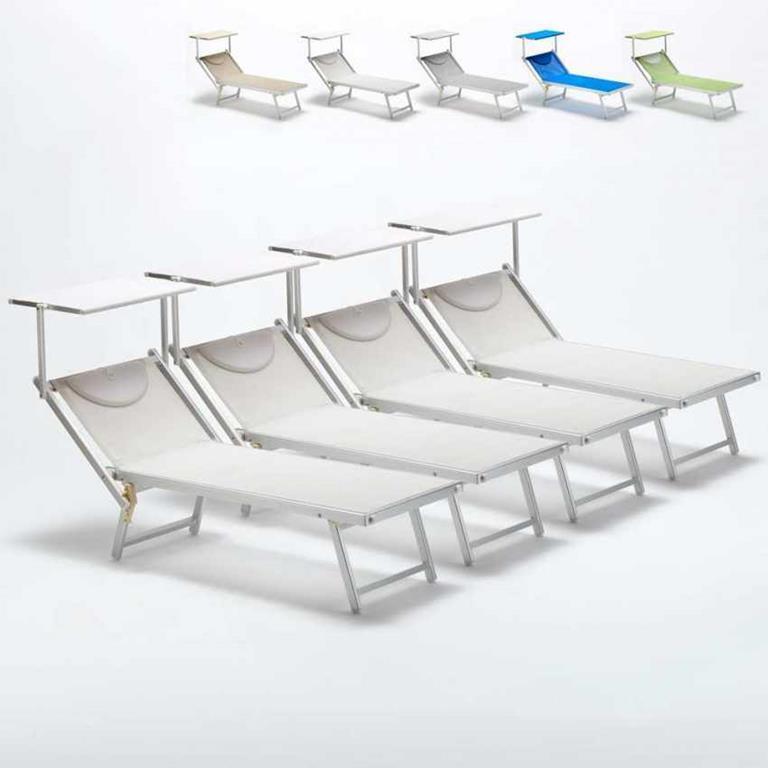 02ae95484d Lettini mare prendisole professionali sdraio alluminio spiaggia ITALIA 4  pezzi - Bianco