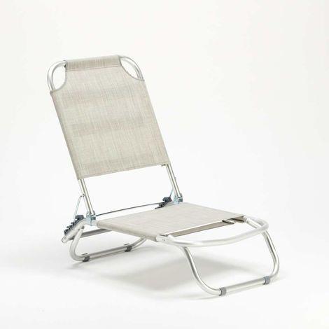 Sedia A Sdraio Alluminio.Sedia Sdraio Mare Alluminio Pieghevole Spiaggina Tropical Grigio