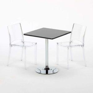 Tavolini Quadrati Bar.Tavolino Rotondo E Quadrato Con 2 Sedie Colorate Trasparenti Da Interno Bar Ghost B Side Trasparente Nero Quadrato