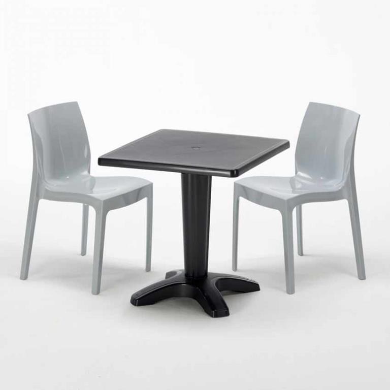 Sedie In Polipropilene Colorate.Tavolino Quadrato E 2 Sedie Colorate Polipropilene Esterno Per Bar