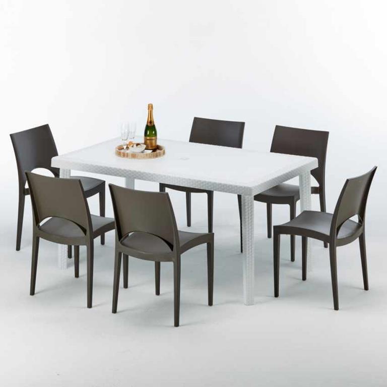 Tavolo Rettangolare Bianco 150x90 Cm Con 6 Sedie Colorate Paris Summerlife Marrone Grand Soleil Casa E Cucina Ibs