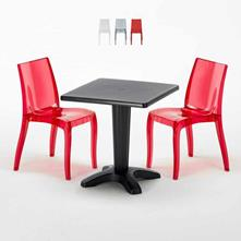 Tavolino quadrato e 2 sedie colorate policarbonato esterno BALCONY ...