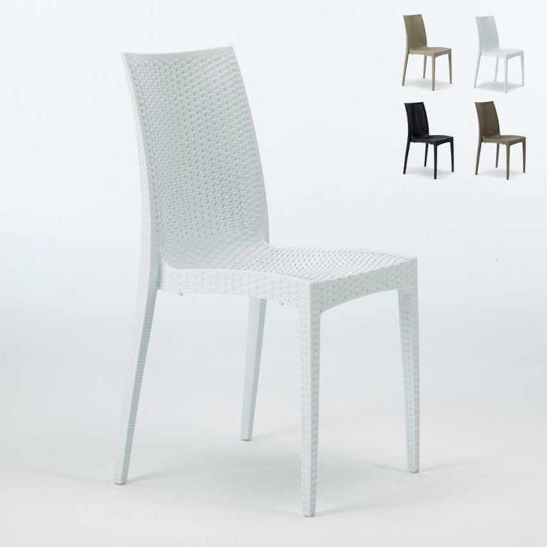 Sedie Polyrattan per bar e ristorante BISTROT offerta stock 22 pezzi Bianco