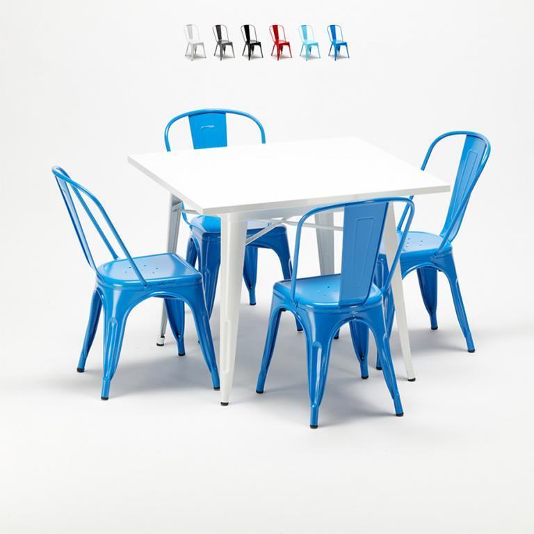 Set Sedie in metallo stile Tolix e tavolo quadrato in ...