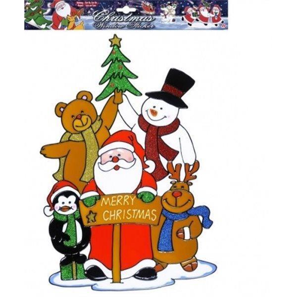 Babbo Natale 40 Cm.Adesivo Da Finestra Vetrofania Babbo Natale 40 Cm