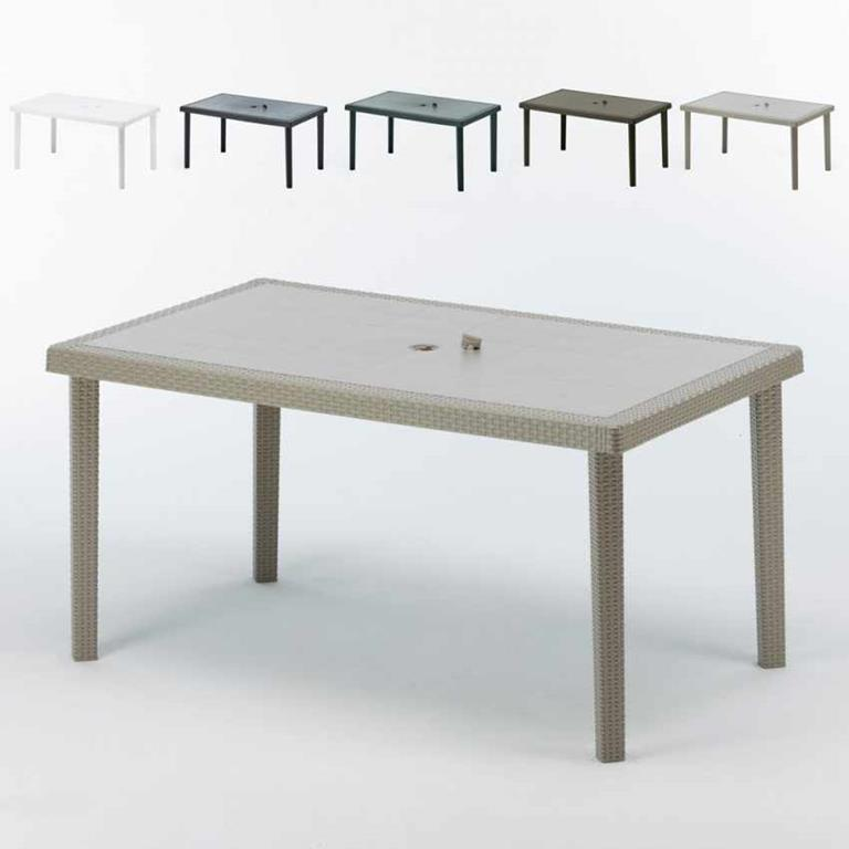 Tavoli Polyrattan rettangolari 150x90 BOHEME offerta stock 12 pezzi - Beige