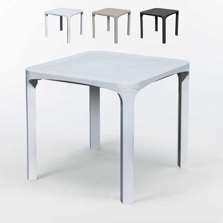 Offerte Tavolini Bar.14 Tavoli Ole Bar Polyrattan Quadrati 80x80 Offerta Stock Bianco