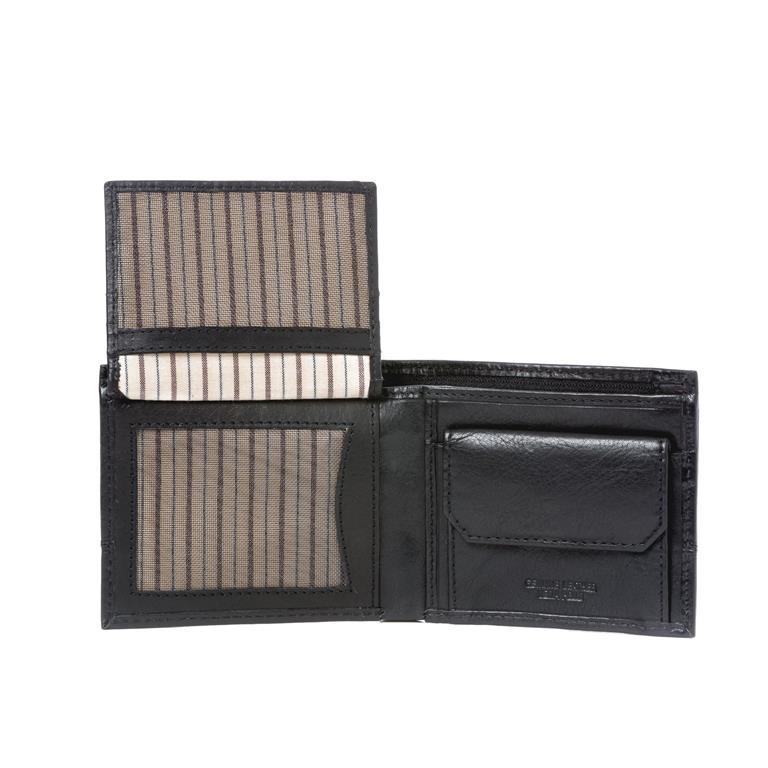 4ccb216a1e Portafoglio uomo piccolo in vera pelle con portamonete e tasca interna con  zip Nero - 3