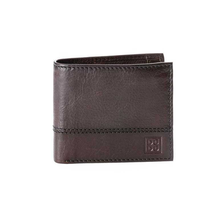 d2424ac7fe Portafoglio uomo piccolo in vera pelle con portamonete e tasca interna con  zip Marrone scuro