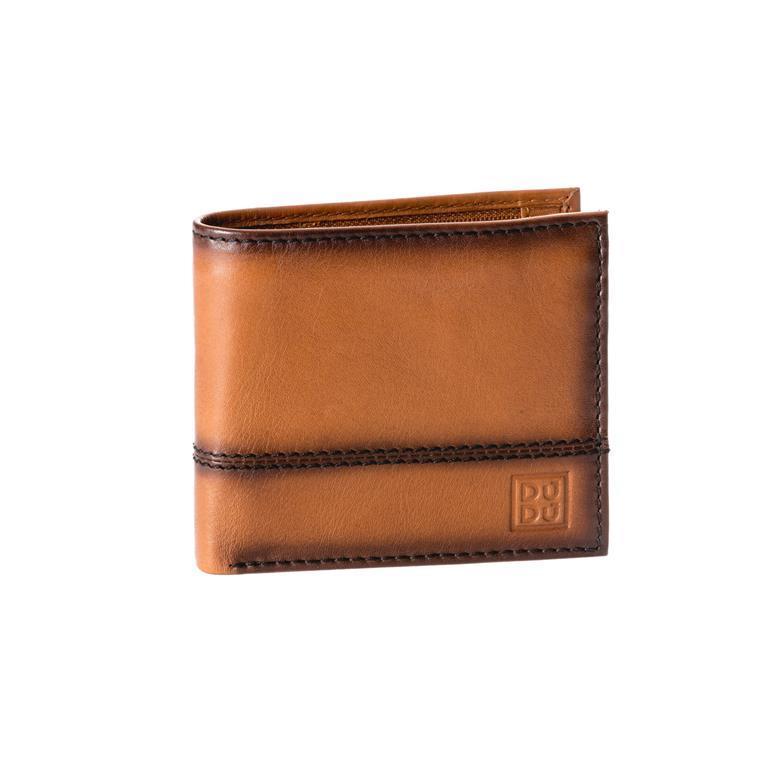 d119de8aa1 Portafoglio uomo piccolo in vera pelle con portamonete e tasca interna con  zip Marrone chiaro