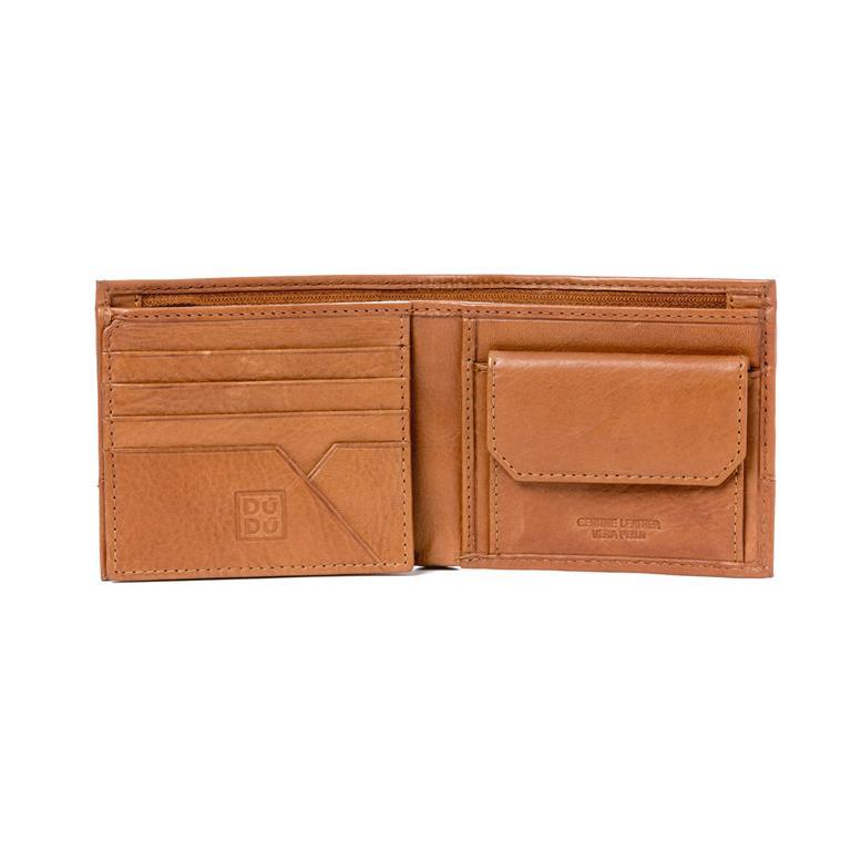 7c46d721bb Portafoglio uomo piccolo in vera pelle con portamonete e tasca interna con  zip Marrone chiaro -
