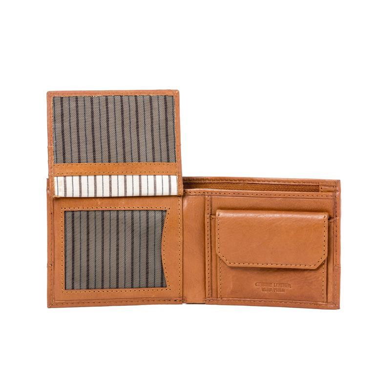 68b5b6318c Portafoglio uomo piccolo in vera pelle con portamonete e tasca interna con  zip Marrone chiaro -