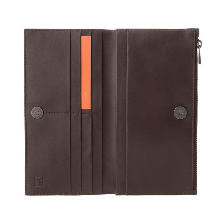 comprare popolare 26cca 70fc5 Portafoglio Donna Grande in Vera Pelle con Bottone Magnetico e Zip Design  Sottile Porta Carte Marrone