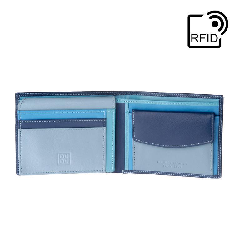 fb08b18e23 Portafoglio uomo RFID schermato Colorato in Vera Pelle formato Classico con  Portamonete e Porta carte di