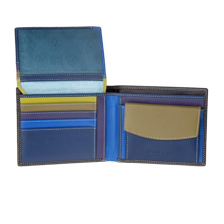09a1c487d5 Portafoglio uomo RFID schermato Colorato in Vera Pelle formato Classico con  Portamonete e Porta carte di