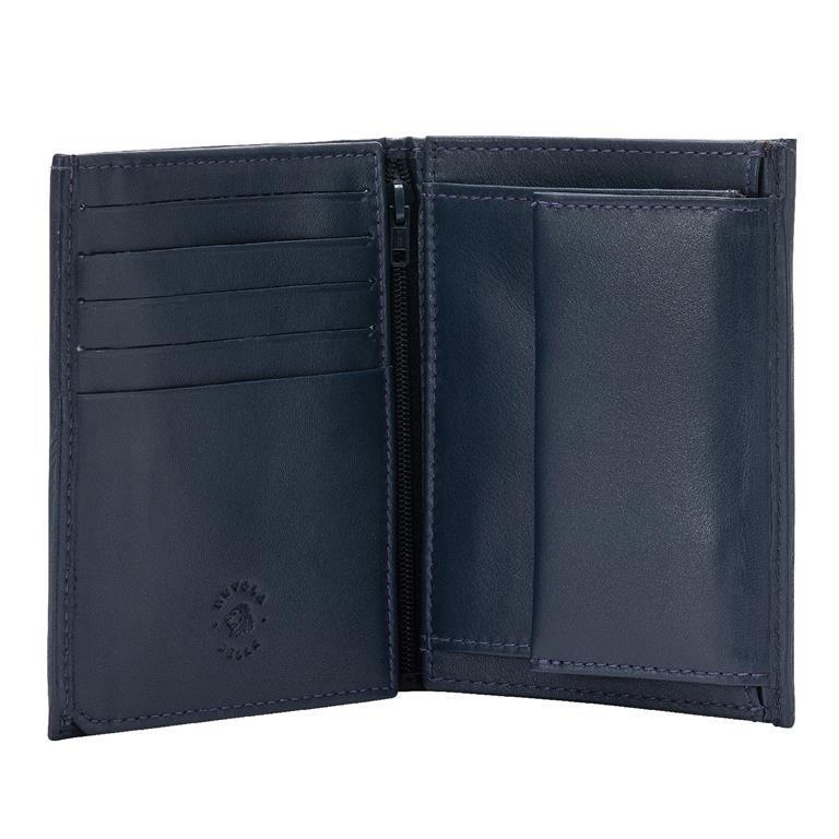 comprare on line fd432 dde5f Nuvola Pelle Portafoglio Uomo Grande in Pelle Nappa con Zip Interna  Portamonete e Doppia Patta Blu