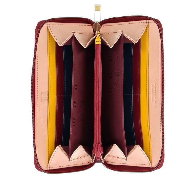 a3e7e8710786d1 Portafogli Portafoglio donna grande di vera pelle colorato zip around DUDU  Burgundy 8031847170337