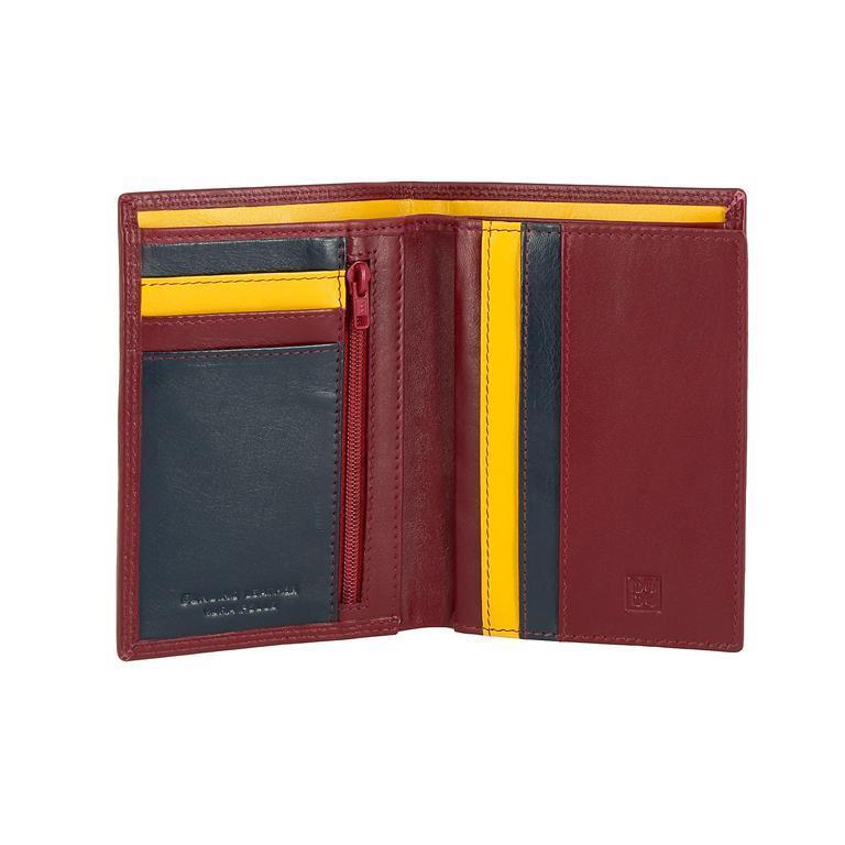 e74fdcaf69 Portafoglio da uomo a libro in pelle multicolore con lampo Burgundy ...