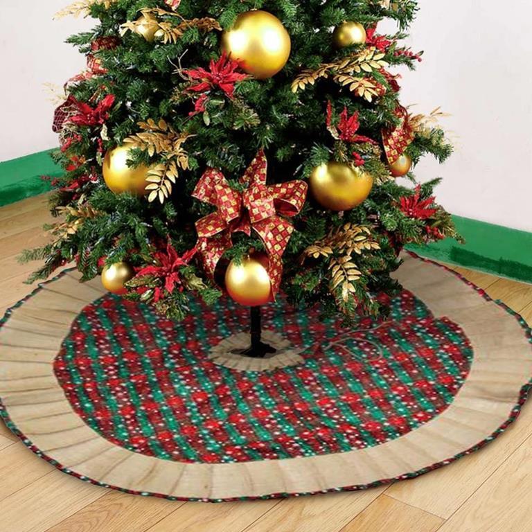 Albero Di Natale Juta.Tappeto Gonna Copertura Base Albero Di Natale 95cm Scozzese Tessuto E Juta Nd Casa E Cucina Ibs