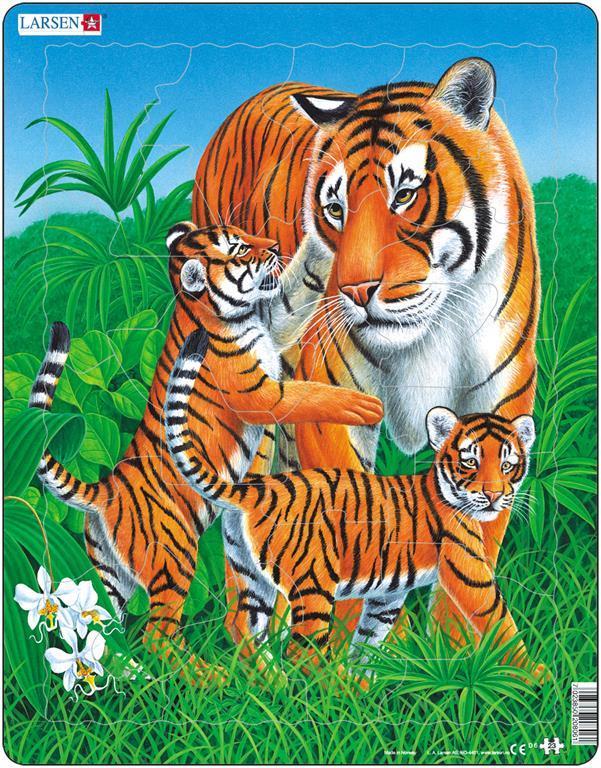 Puzzle Per Bambini Tigre Con Cuccioli Cm 36x28 23 Pezzi Larsen