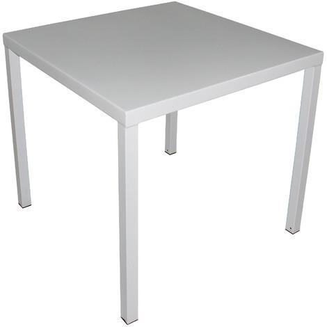 Tavolo Giardino Ferro Bianco.Set Tavolo Giardino Quadrato Fisso 80 X 80 Con 2 Poltrone In Ferro