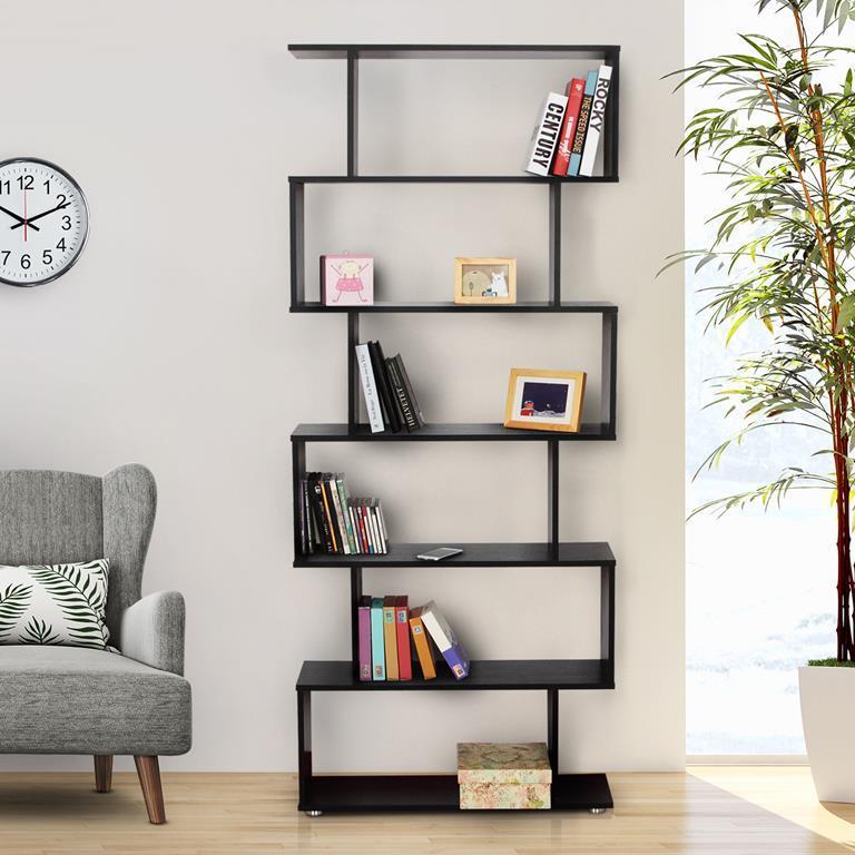 HomCom Libreria di Design in Legno, Nero, 80x25x192cm - - Casa e ...