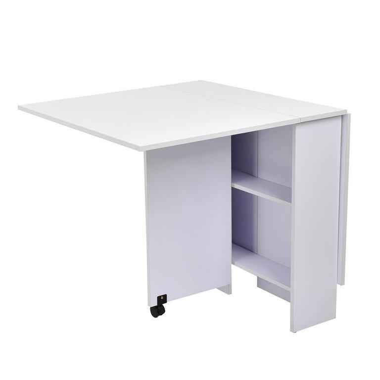 Tavolo pieghevole scrivania mensola in legno bianco con for Tavolo scrivania