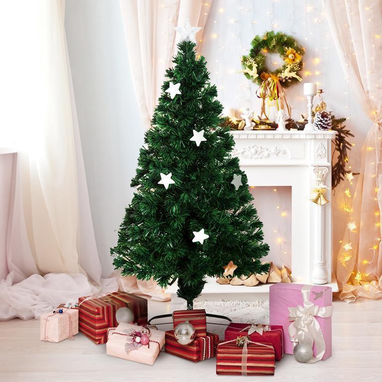 Albero Di Natale 852 Bambini.Homcom Albero Di Natale In Fibra Ottica Con 16 Luci Led A Forma Di Stella 120cm Homcom Casa E Cucina Ibs